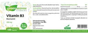 Greenleaves Vitamin B3 Etikett