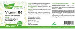 Greenleaves Vitamin B6 Etikett